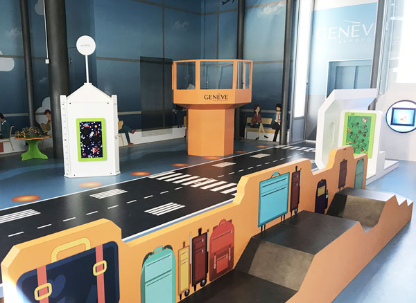 this image shows a kids corner with wall design in an airport