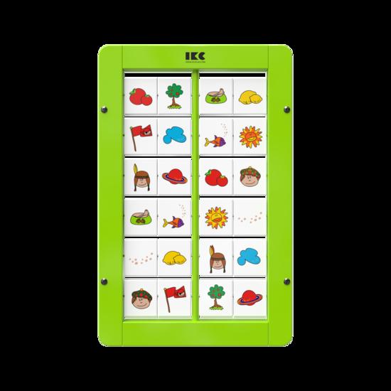 memory spel voor aan de wand met draaiende blokjes | IKC wandspel muurspel